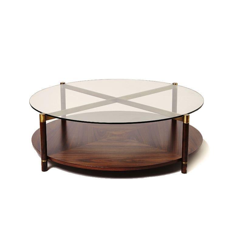 современный журнальный столик из дерева из стекла круглый