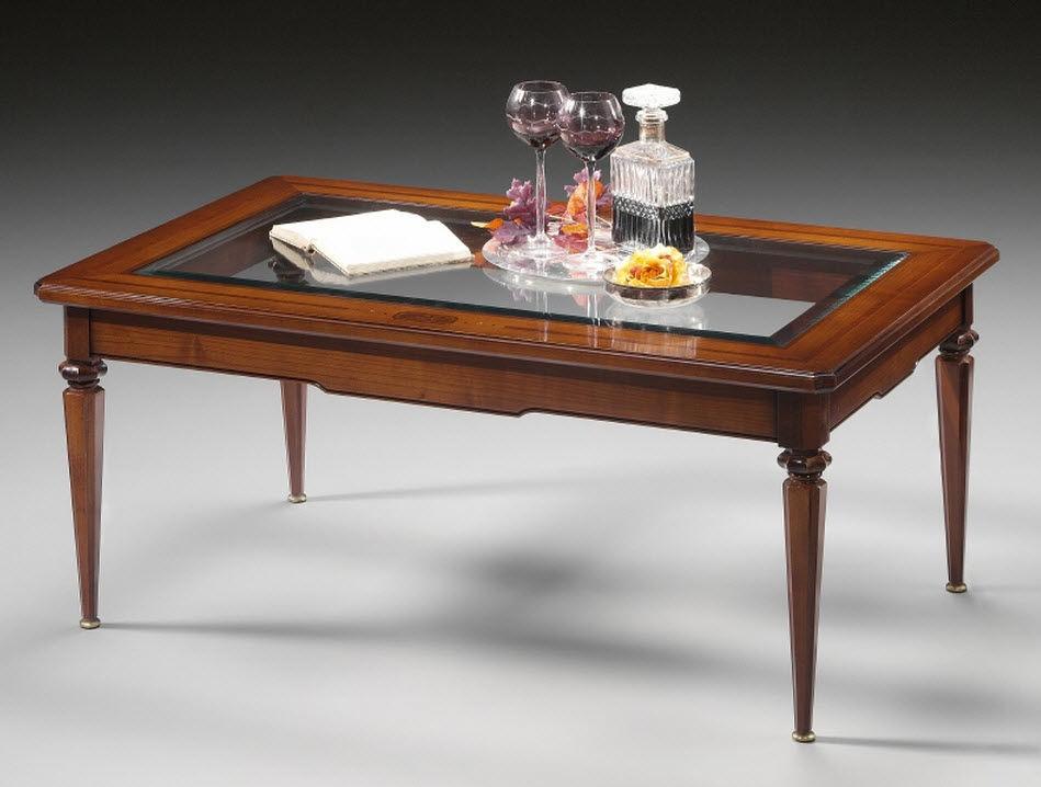 классический журнальный столик из вишневого дерева из стекла