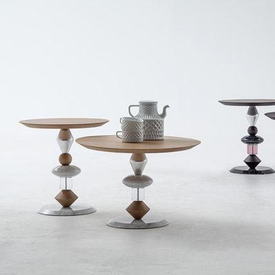 современный журнальный столик из дерева круглый Pandora