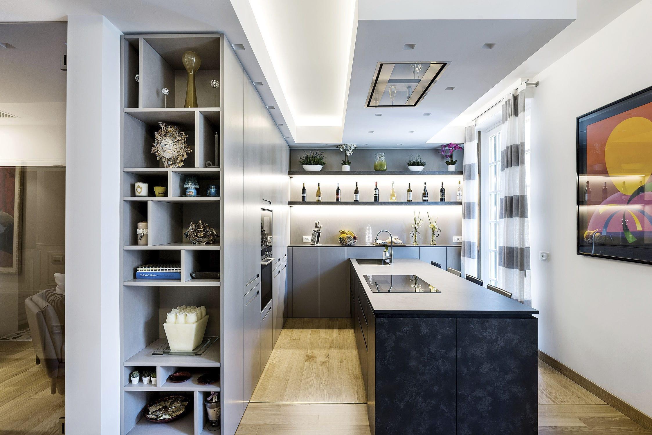 современная кухня из ламината без ручки 20150301