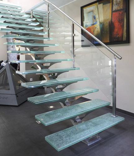прямая лестница / конструкция из нержавеющей стали / со стеклянными ступеньками / без подступенка