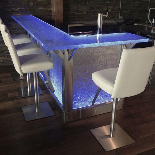 барная стойка для бара / из стекла / L-образная / световая