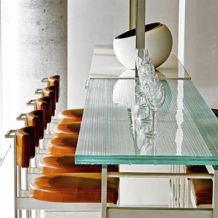 современный столовый стол / из стекла / прямоугольный / круглый