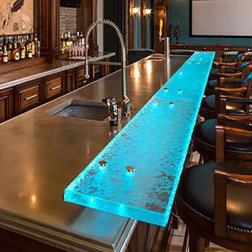 барная стойка для бара / для кухни / из стекла / прямая