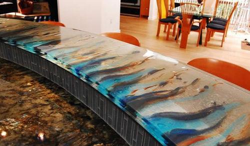 барная стойка для кухни / для бара / из стекла / полукруглая
