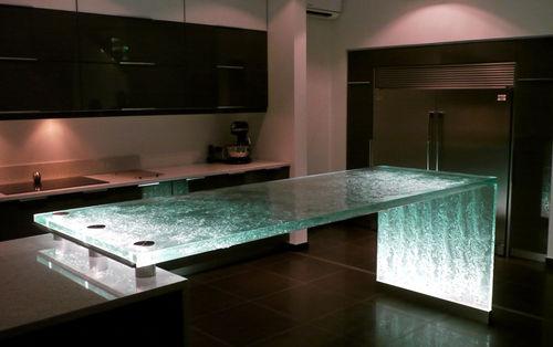 барная стойка для кухни / из стекла / прямая / световая