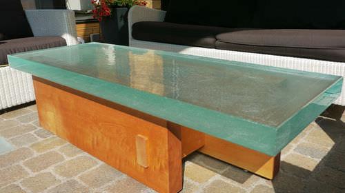 современный стол / из стекла / прямоугольный