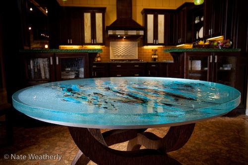столовый стол уникальный дизайн / из стекла / прямоугольный / круглый