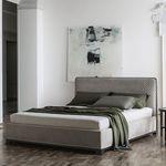 двойная кровать / современная / обитая / с изголовьем кровати