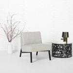 современное низкое кресло / из ткани / из клена / бежевое