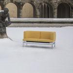 современный диван / из кожи / из металла / 2 места