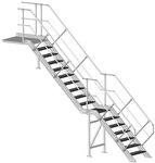 прямая лестница / с металлическими ступеньками / металлическая конструкция / без подступенка