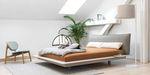 двойная кровать / современная / с обитым изголовьем / из ткани