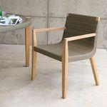 современное кресло для посетителей / из тикового дерева / белое / для улицы