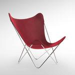 современный стул для сада / из стали / из ткани / красный