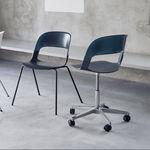 современный стул для посетителей / из хромированной стали / из дуба / стекируемый