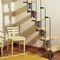 прямая лестница / круговая / металлическая конструкция / с деревянными ступеньками