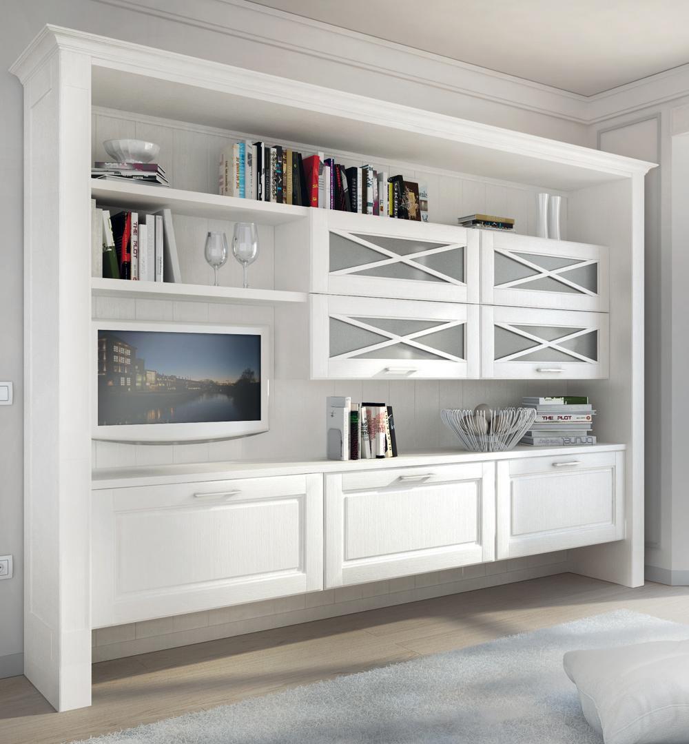 настенный книжный шкаф классический из дерева Agnese