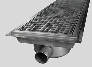 лоток канализации из нержавеющей стали / с решеткой / напольный / по индивидуальному заказу