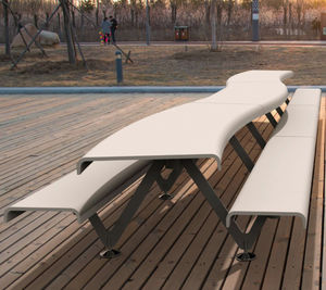 комплект стол-лавки уникальный дизайн