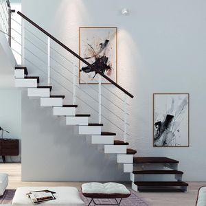 прямая лестница / в четверть оборота / стальная конструкция / с деревянными ступеньками