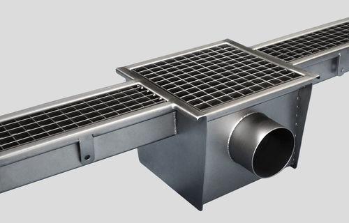 лоток канализации из нержавеющей стали / с решеткой / для кухни / напольный