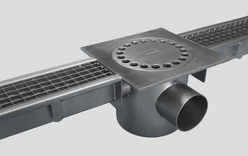 лоток канализации из нержавеющей стали / с решеткой / напольный / для сбора дождевой воды