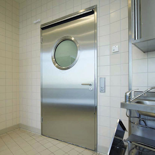 дверь для помещения / створчатая / из нержавеющей стали / с окном