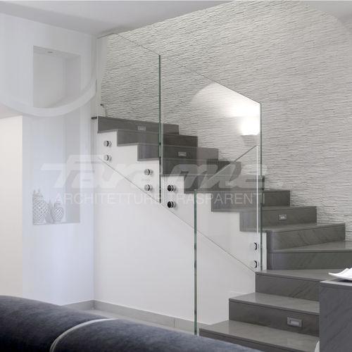 ограждение из стекла / из нержавеющей стали / со стеклянными панелями / для интерьера