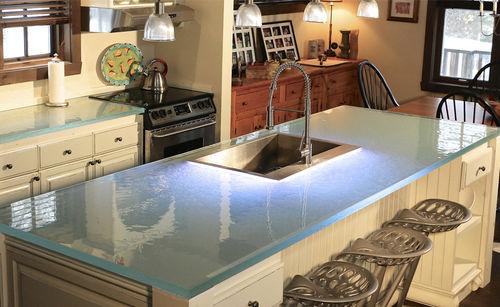 рабочая поверхность из стекла / для кухни