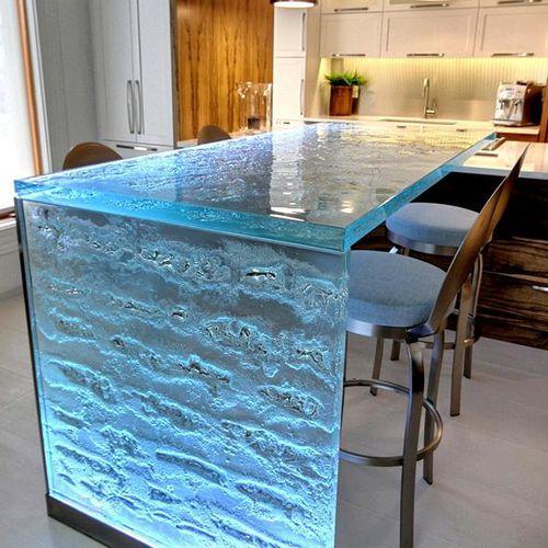 современная кухня / из стекла / L-образная / в форме U