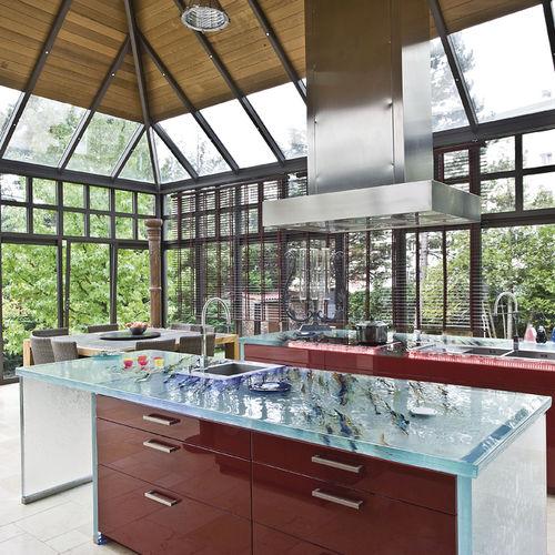 рабочая поверхность из стекла / для кухни / термостойкая / износостойкая