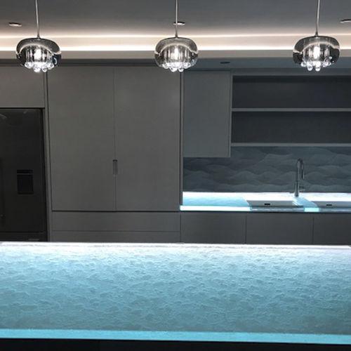 рабочая поверхность из стекла / для кухни / из переработанных материалов / термостойкая