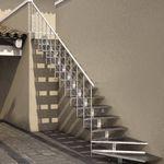 прямая лестница / в четверть оборота / металлическая конструкция / с металлическими ступеньками