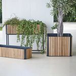 кадка для садовых растений из тикового дерева / из алюминия / квадратная / современная