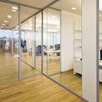 неподвижная перегородка / из стекла / для офиса / прозрачная