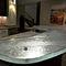 современный высокий стол для еды стоя / из стекла / изогнутый / для кухни