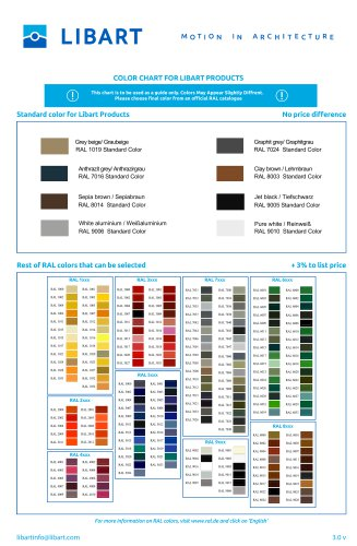 Standard color for Libart Products